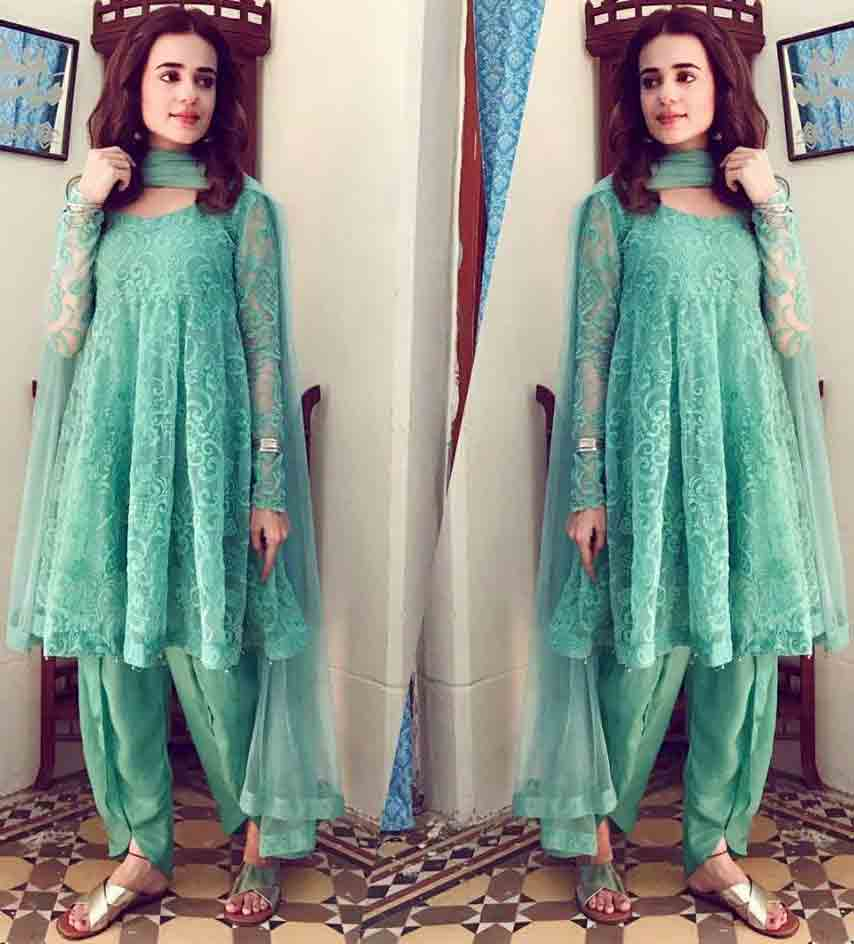 Best sky blue party short frock with matching dupatta and shalwar Zahra Ahmad Eid dresses for girls in Pakistan
