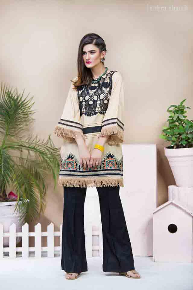 Latest style of short shirt with black trousers by Zahra Ahmad Eid dresses for girls in Pakistan