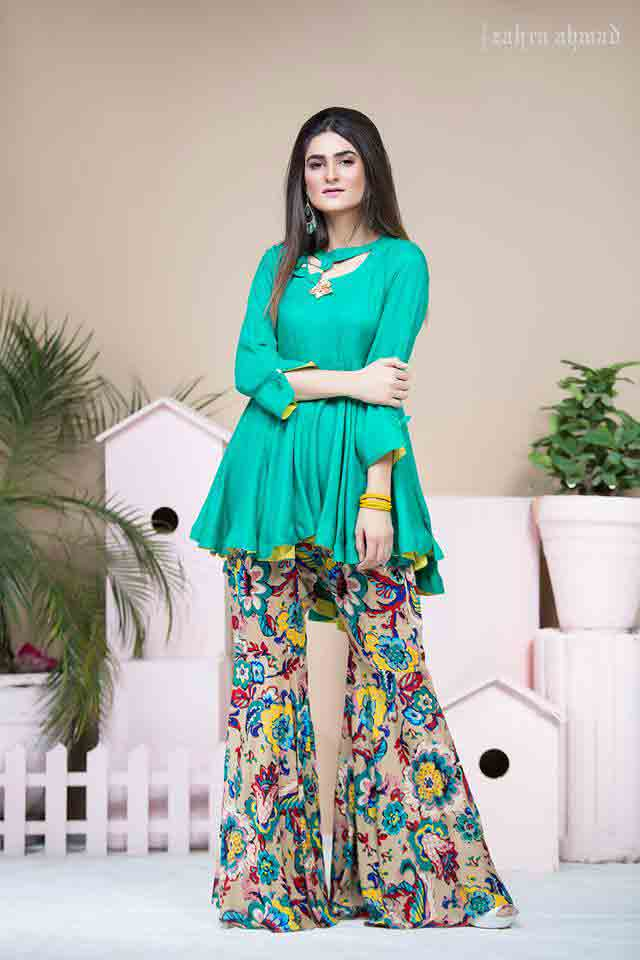 New sea green short frock peplum with sharara by Zahra Ahmad Eid dresses for girls in Pakistan