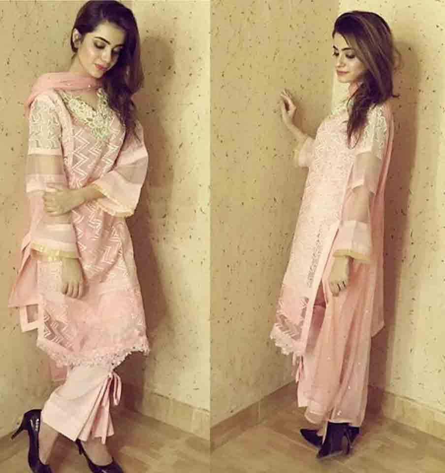 Best peach embroidered shirt with organza Zahra Ahmad Eid dresses for girls in Pakistan
