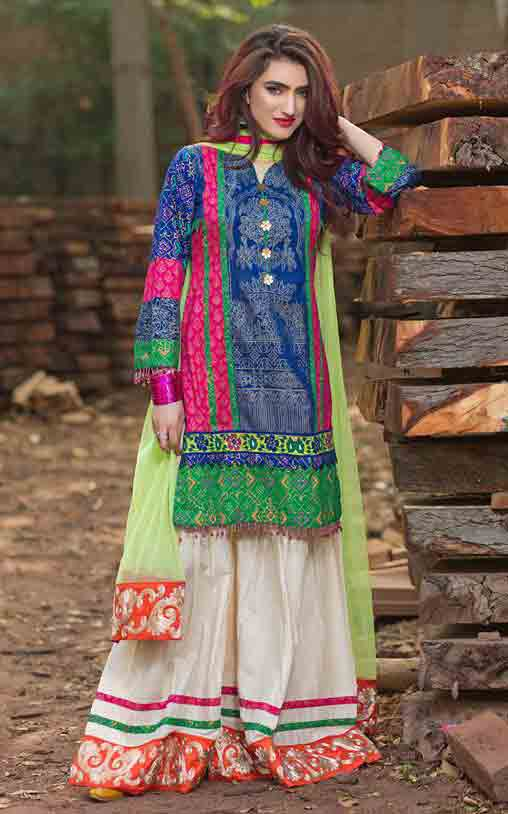 Blue shirt with white sharara an dgreen dupatta by Zahra Ahmad Eid dresses for girls in Pakistan