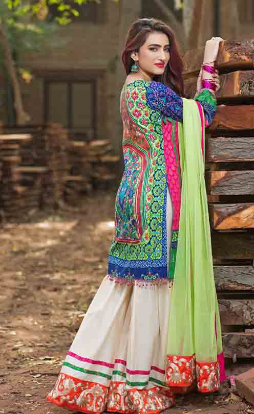 Best blue short shirt with white sharara and light green dupatta by Zahra Ahmad Eid dresses for girls in Pakistan
