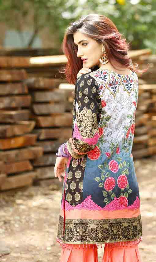 Latest multicolor short shirt back style by Zahra Ahmad Eid dresses for girls in Pakistan