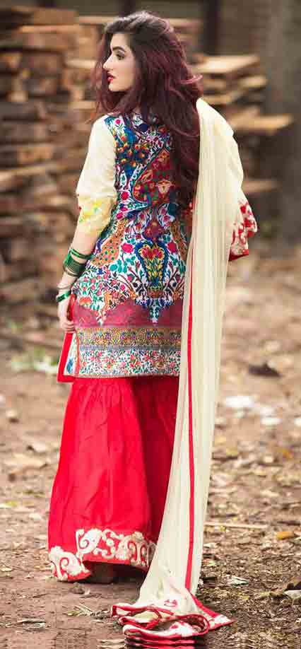 Best short shirt with red sharara or gharara by Zahra Ahmad Eid dresses for girls in Pakistan