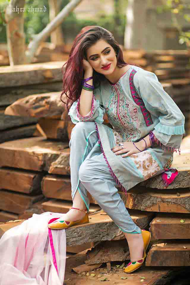 Sky blue short shirt by Zahra Ahmad Eid dresses for girls in Pakistan