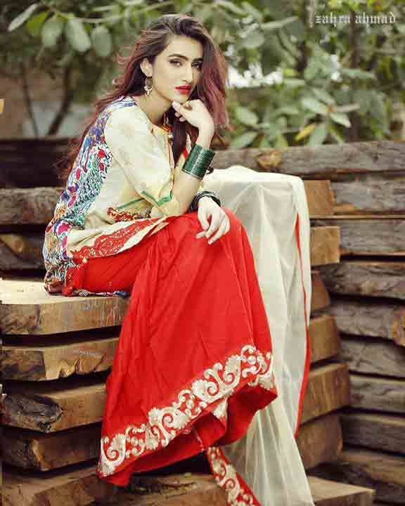 Best short shirt with red sharara for party by Zahra Ahmad Eid dresses for girls in Pakistan