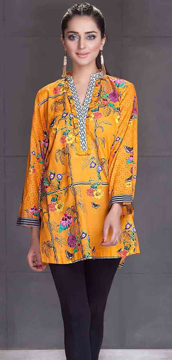 So kamal yellow short shirt new eid dress designs for girls in Pakistan 2017