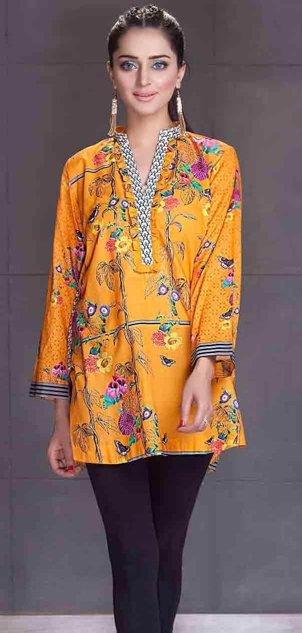 So kamal yellow short shirt new eid dress designs for girls in Pakistan 2017