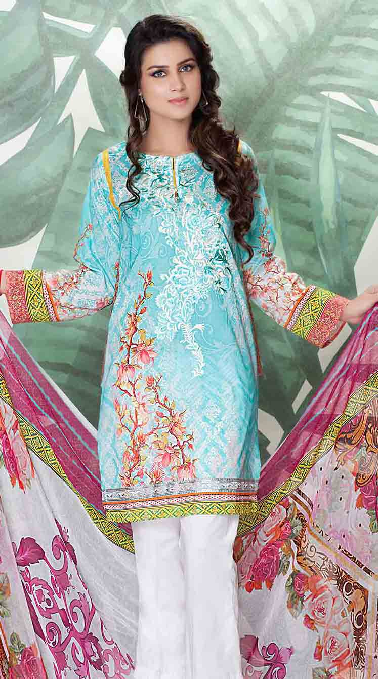 So kamal sky blue kameez shalwar new eid dress designs for girls in Pakistan 2017