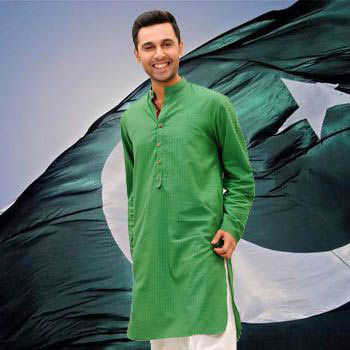Green kurta with white shalwar for Pakistan independence day dresses for boys 2017
