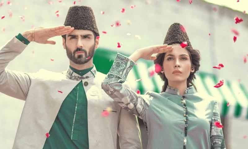 Green and white combination of dresses for Pakistan independence day dresses for boys 2017