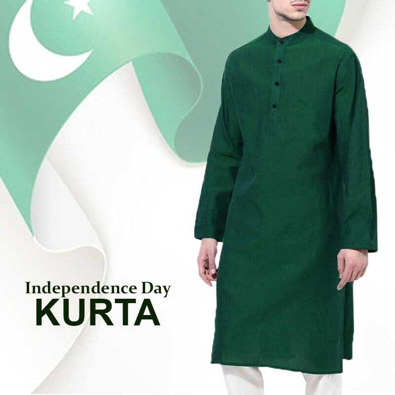 Latest green kurta with white shalwar for Pakistan independence day dresses for boys 2017