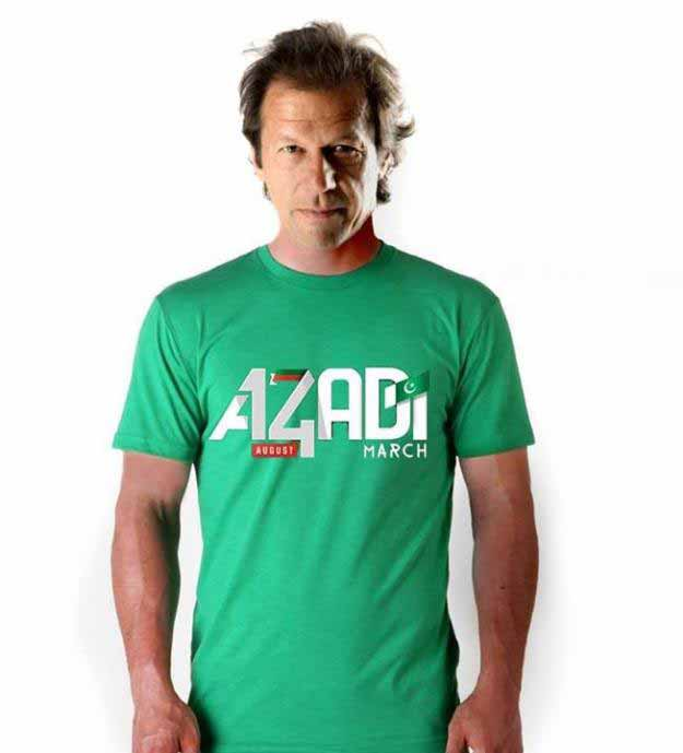 Imran khan in Azadi shirt for Pakistan independence day dresses for boys 2017