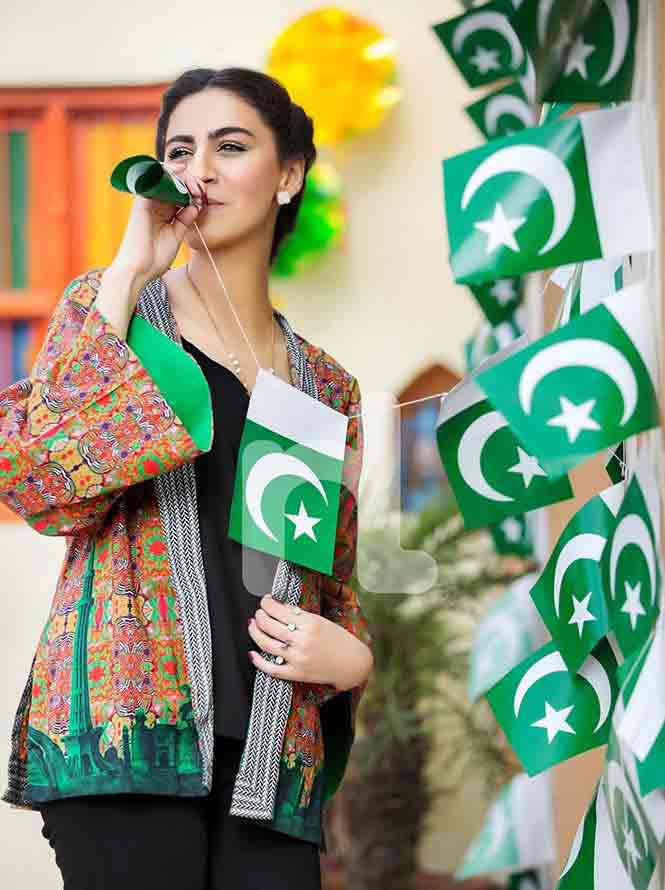 New design green and brown shirt for Pakistan independence day 14th August dresses for girls 2017