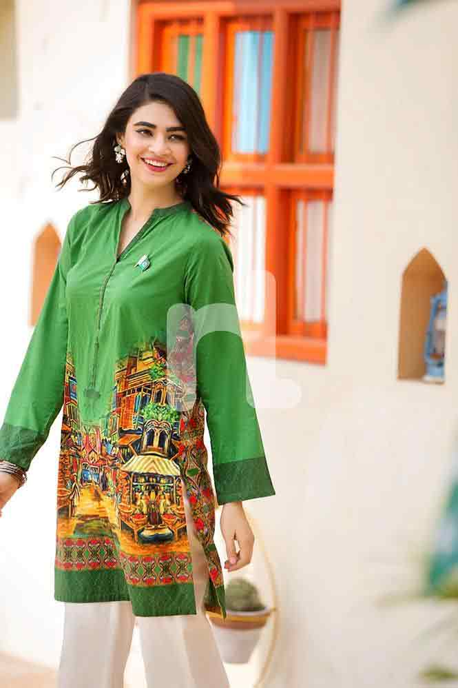 Parrot green printed shirt for Pakistan independence day 14th August dresses for girls 2017