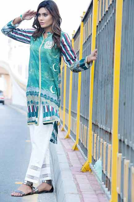 Green and white shirt for Pakistan independence day 14th August dresses for girls 2017