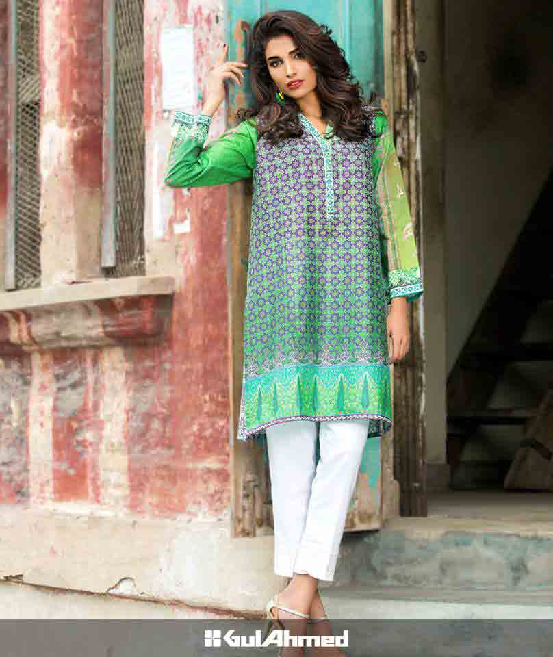 Green shirt with white capri pants for Pakistan independence day 14th August dresses for girls 2017