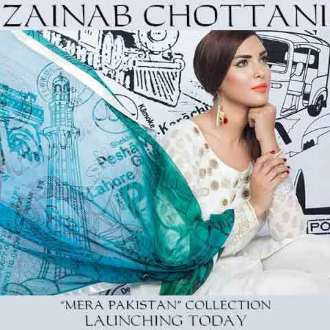Zainab Chottani white shirt with green dupatta for Pakistan independence day 14th August dresses for girls 2017