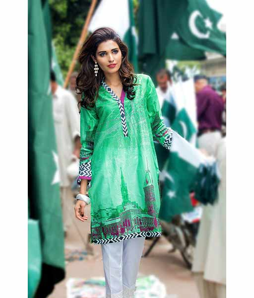 Green short shirt with white pajama for Pakistan independence day 14th August dresses for girls 2017