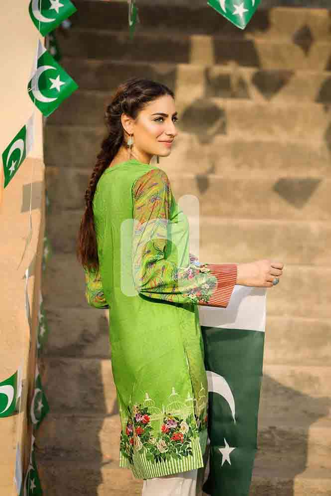 Light green shirt for Pakistan independence day 14th August dresses for girls 2017