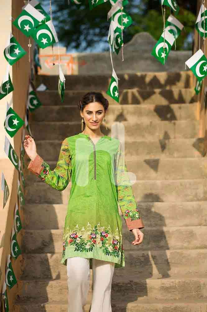 Parrot green shirt for Pakistan independence day 14th August dresses for girls 2017