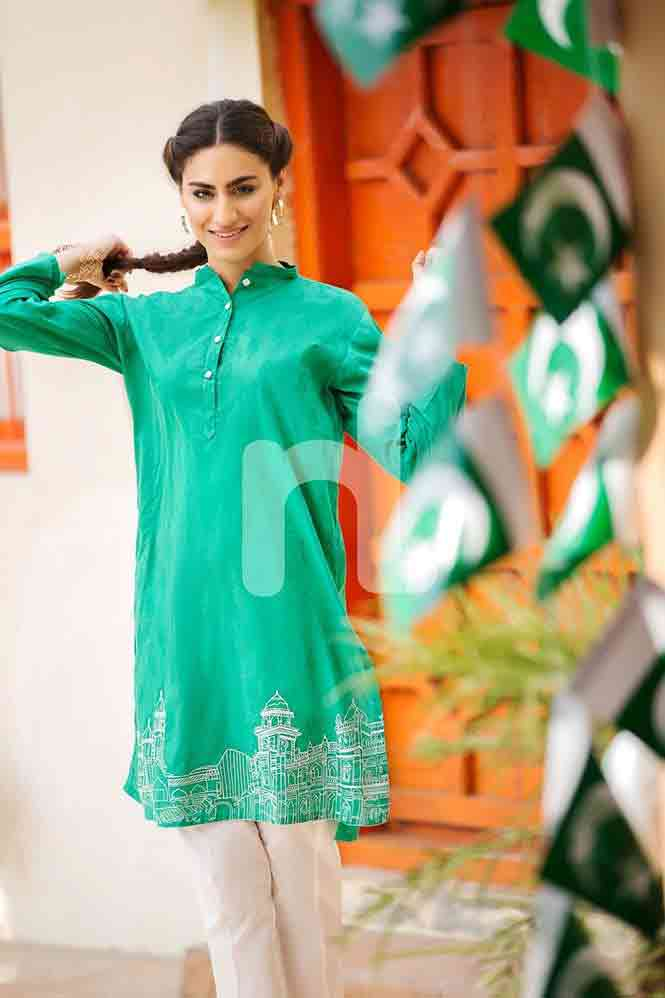Plain green shirt for Pakistan independence day 14th August dresses for girls 2017