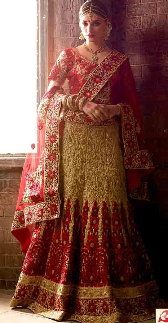 Golden and red Indian bridal wedding lehenga choli 2017