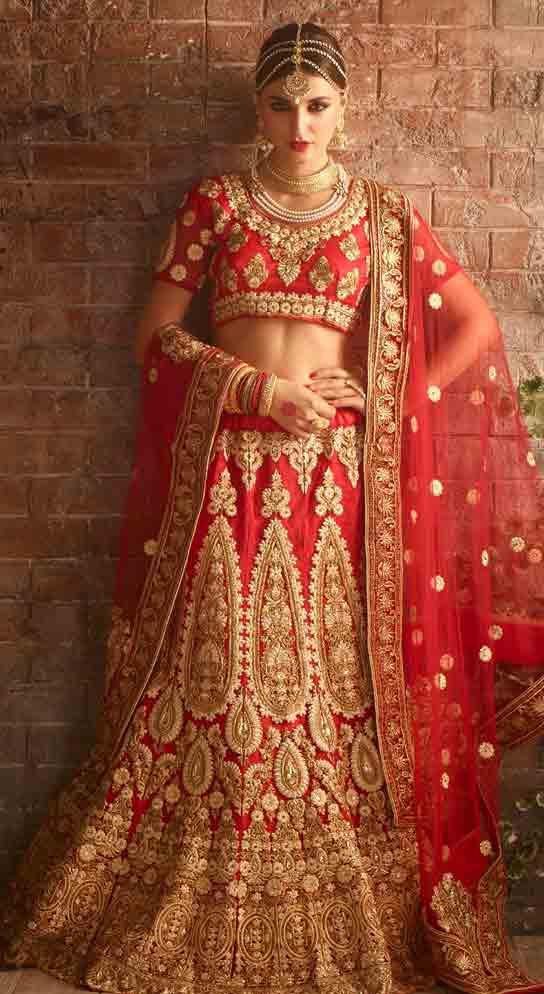 Red and golden Indian bridal wedding lehenga choli 2017