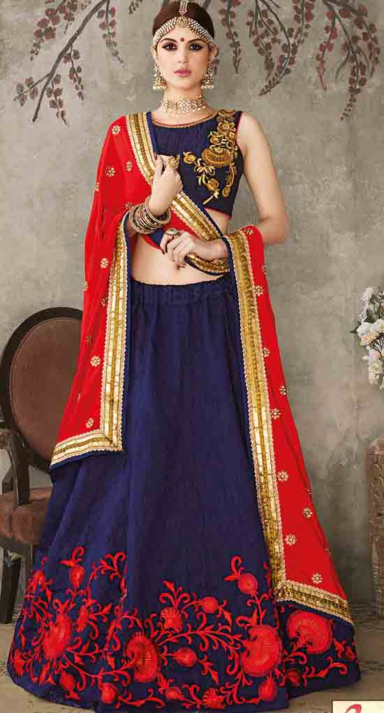 Red and blue Indian bridal wedding lehenga choli 2017