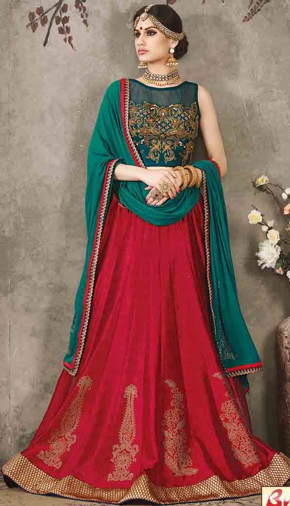 Red and green Indian bridal wedding lehenga choli 2017