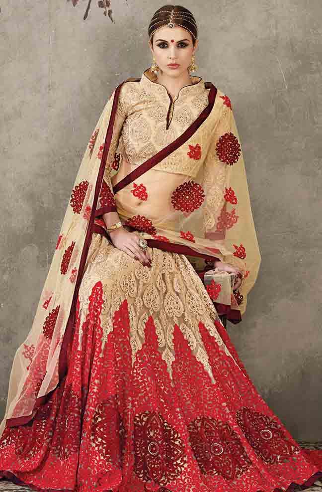 Red Indian bridal wedding lehenga choli 2017