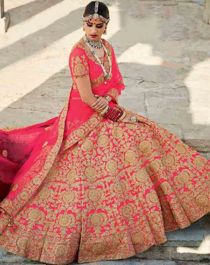 Pink Indian bridal wedding lehenga choli 2017