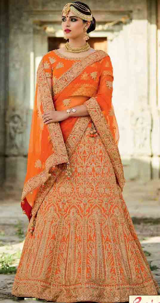 Orange Indian bridal wedding lehenga choli 2017