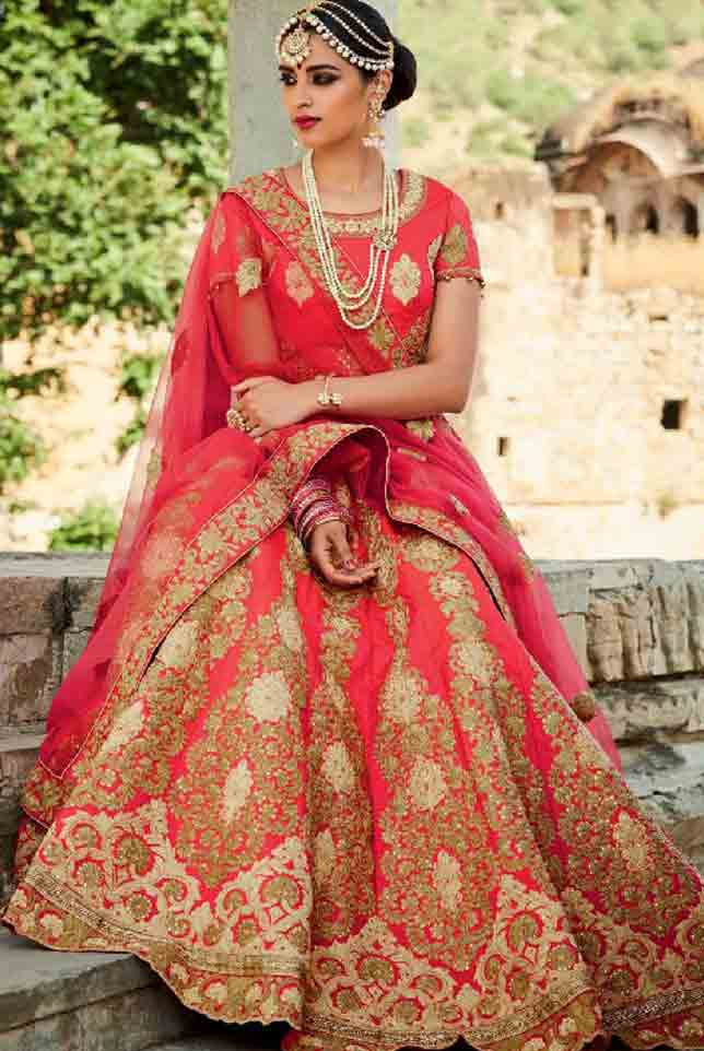 Peach Indian bridal wedding lehenga choli 2017