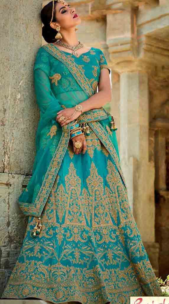 Blue Indian bridal wedding lehenga choli 2017