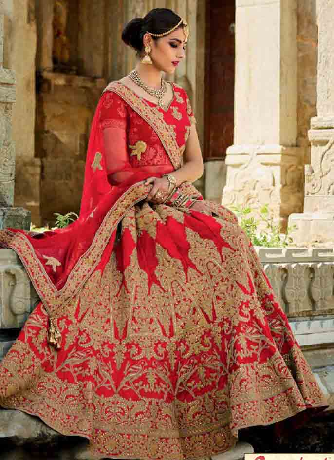 Red Indian bridal wedding lehenga choli 2017