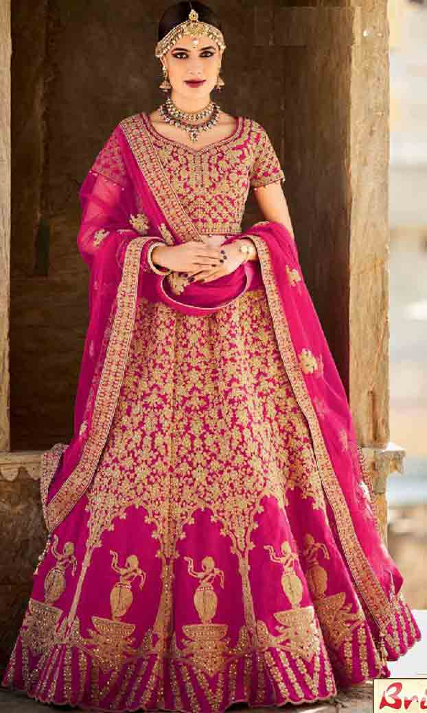 Shocking pink Indian bridal wedding lehenga choli 2017
