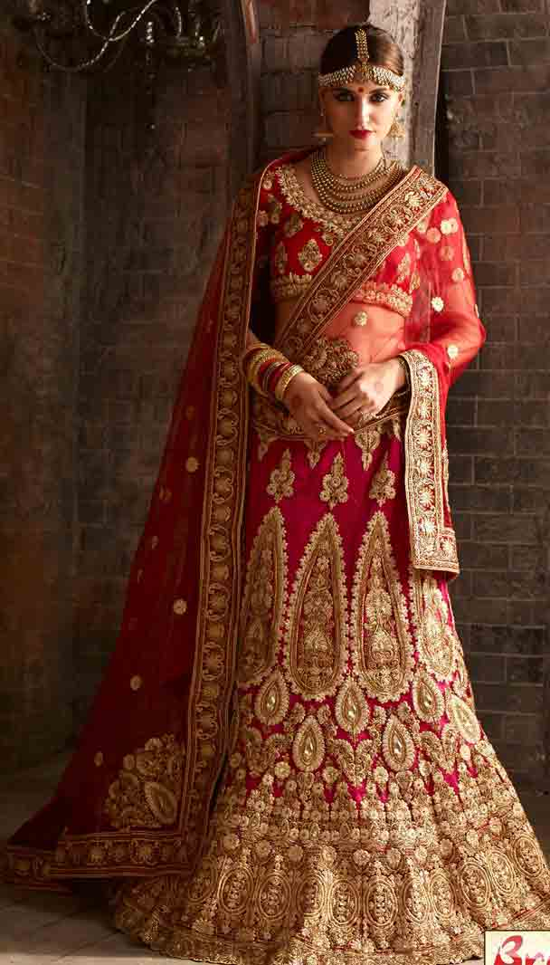 Red and golden Indian bridal wedding lehenga choli 2017