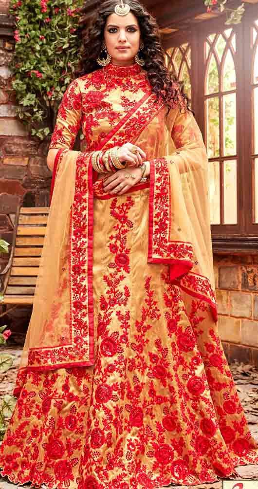 Yellow and red Indian bridal wedding lehenga choli 2017