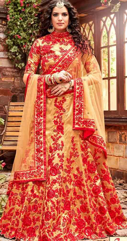 Yellow and red Indian bridal wedding lehenga choli 2017