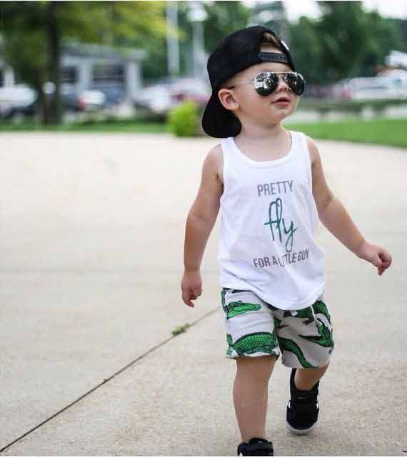 White shirt with green and white shorts for 14th august dresses for baby boys in Pakistan 2017