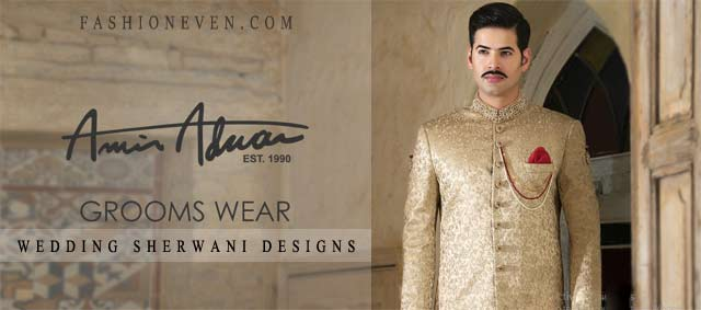 Amir Adnan wedding sherwani for groom 2017