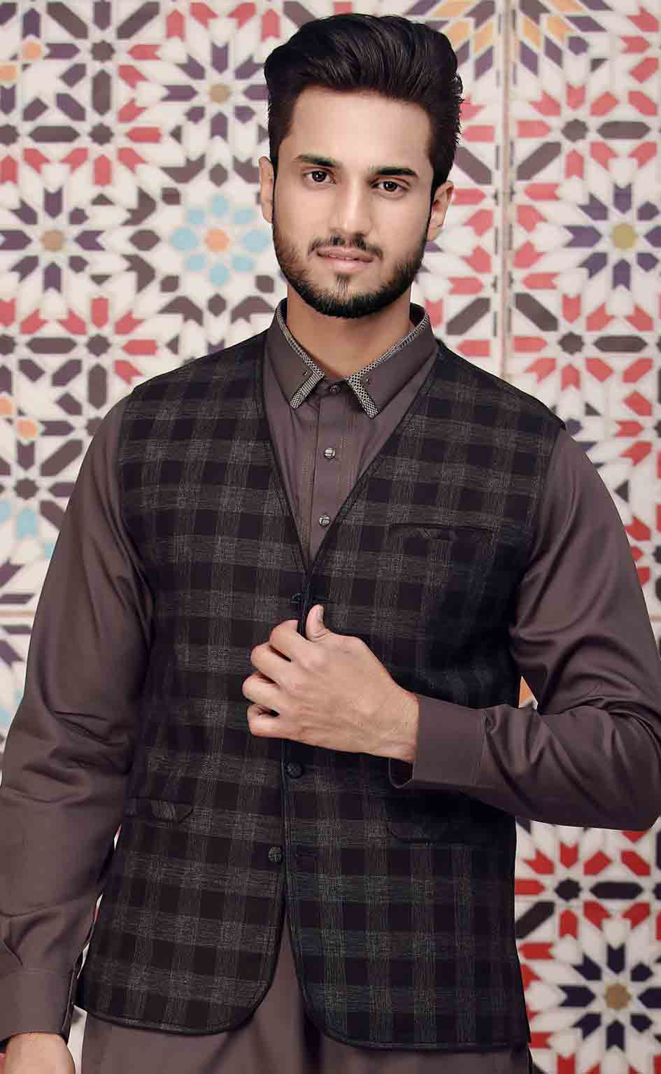 Black waistcoat designs 2017 with dark brown kurta for boys in Pakistan