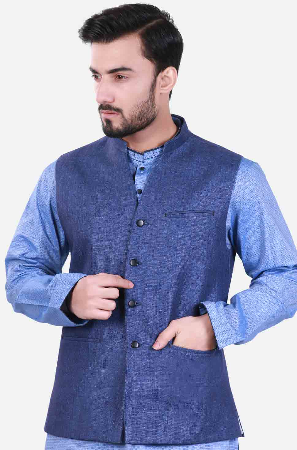 Blue waistcoat designs 2017 with sky blue kurta for boys in Pakistan