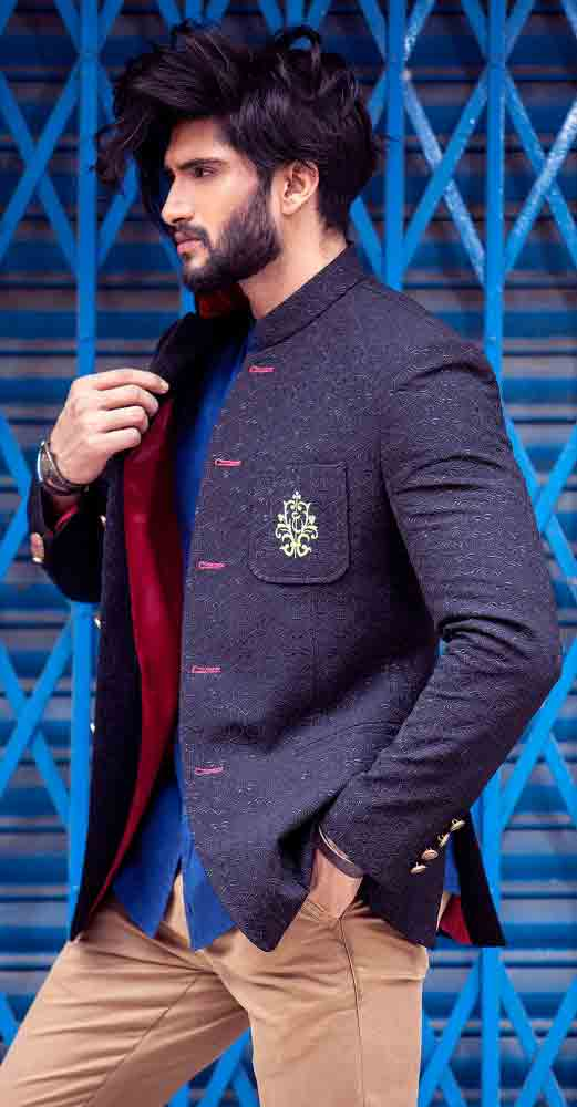 Formal blue waistcoat designs 2017 with brown pant for boys in Pakistan