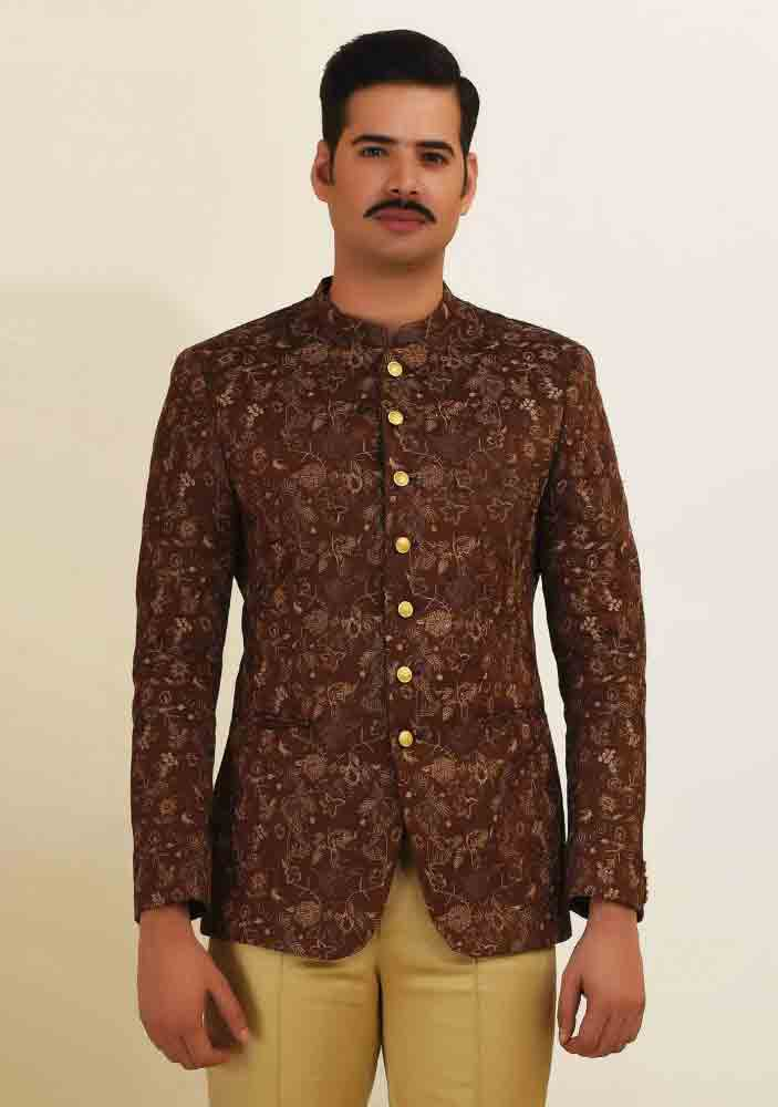 Formal brown waistcoat designs 2017 with pant for boys in Pakistan