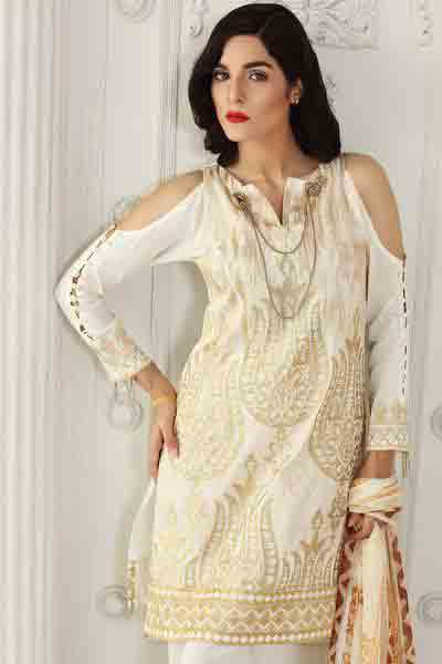 Off white peekaboo sleeves shirt with dupatta dresses for Eid ul Azha 2017 by Gul Ahmed