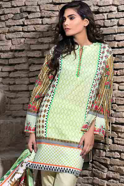 White and brown shirt with dupatta dresses for Eid ul Azha 2017 by Gul Ahmed