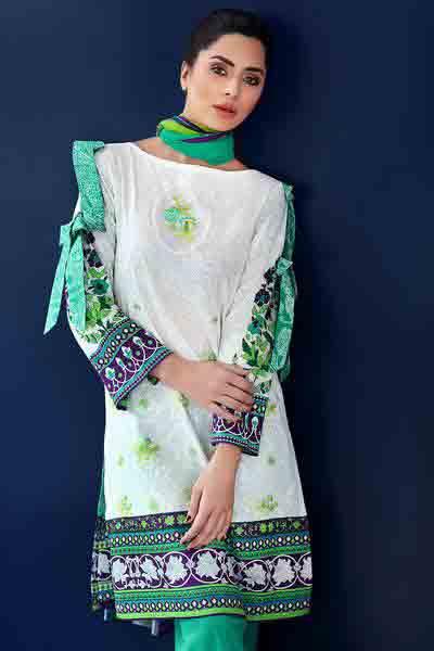 White and green short shirt dresses for Eid ul Azha 2017 by Gul Ahmed