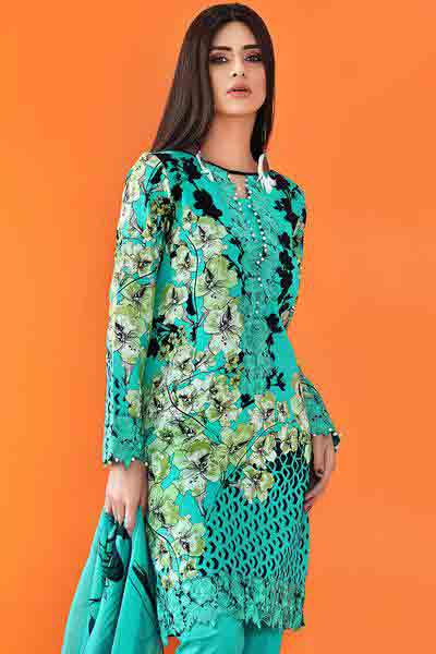 Sky blue and green shirt dresses for Eid ul Azha 2017 by Gul Ahmed